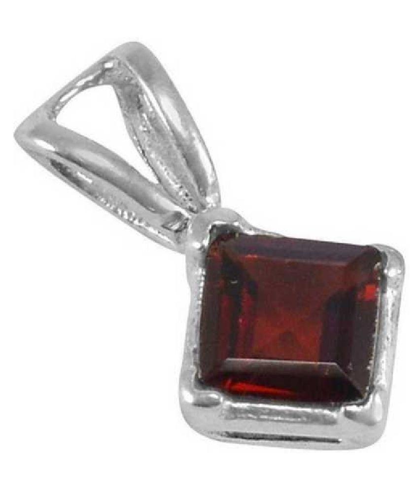 10 carat pure Hessonite (Gomed)  silver Pendant by KUNDLI GEMS \n