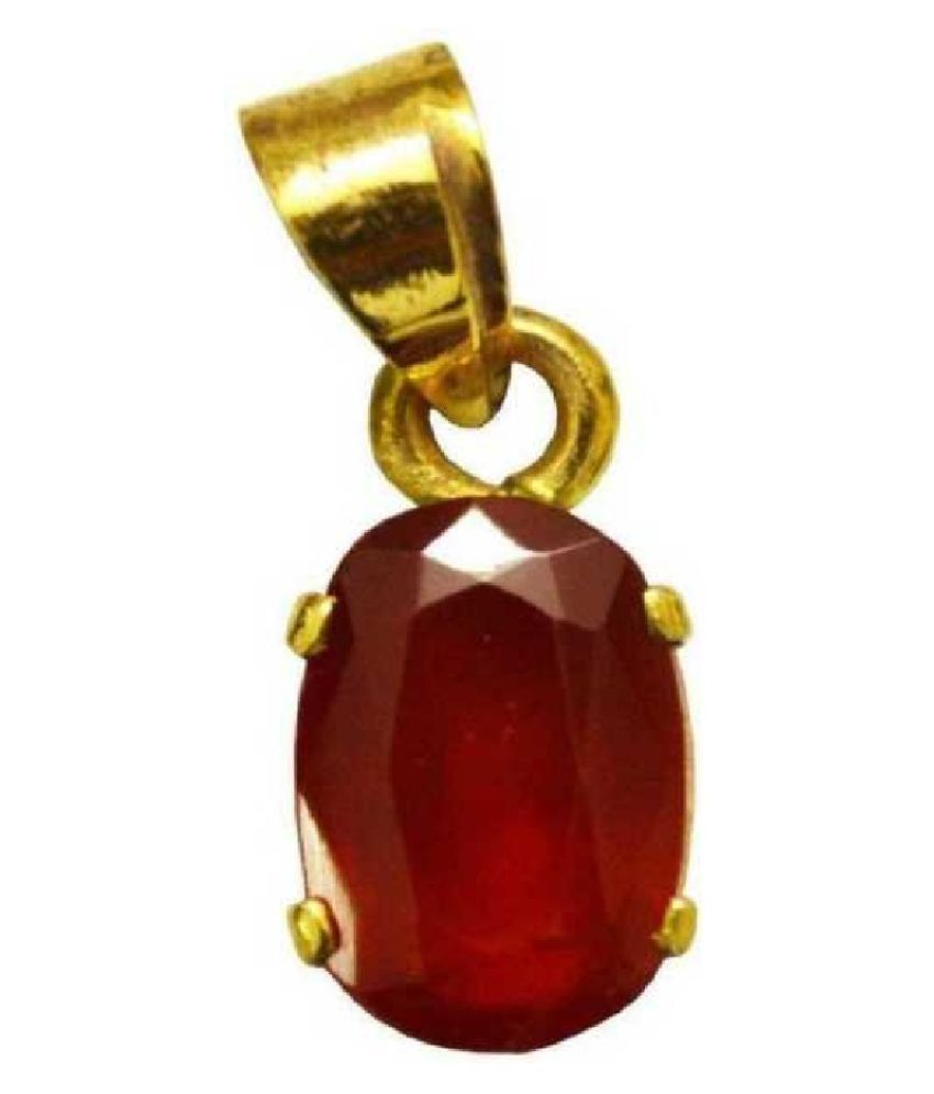 9.25 ratti  Pendant Natural Hessonite (Gomed)  Gold Plated Pendant by  KUNDLI GEMS