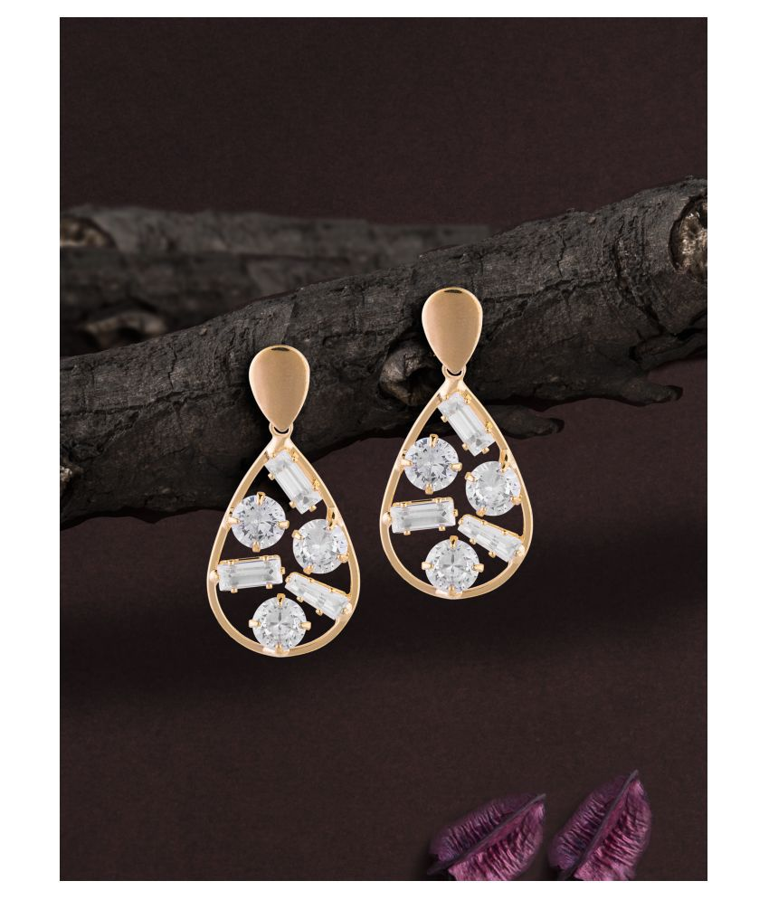 Gold-Plated Cz-Studded Contemporary Drop Earring