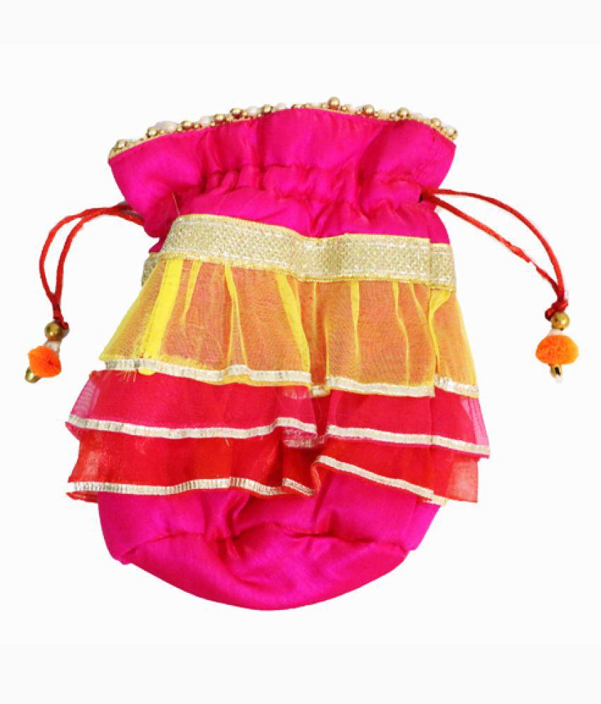 Jain Walas Pink Silk Handbags Accessories