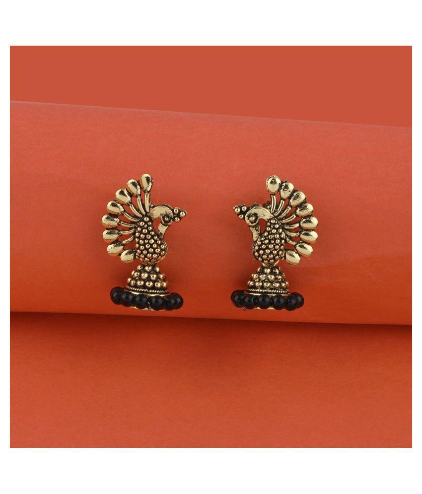 SILVER SHINE  Pretty Beads in Peacock Shape Jhumki Earrings