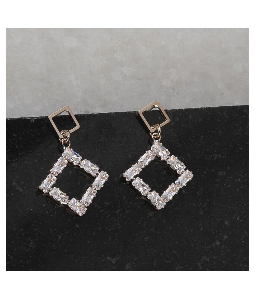 SILVER SHINE  Rose Gold Charm Stylish Diamond Stud Earring For Women Girl