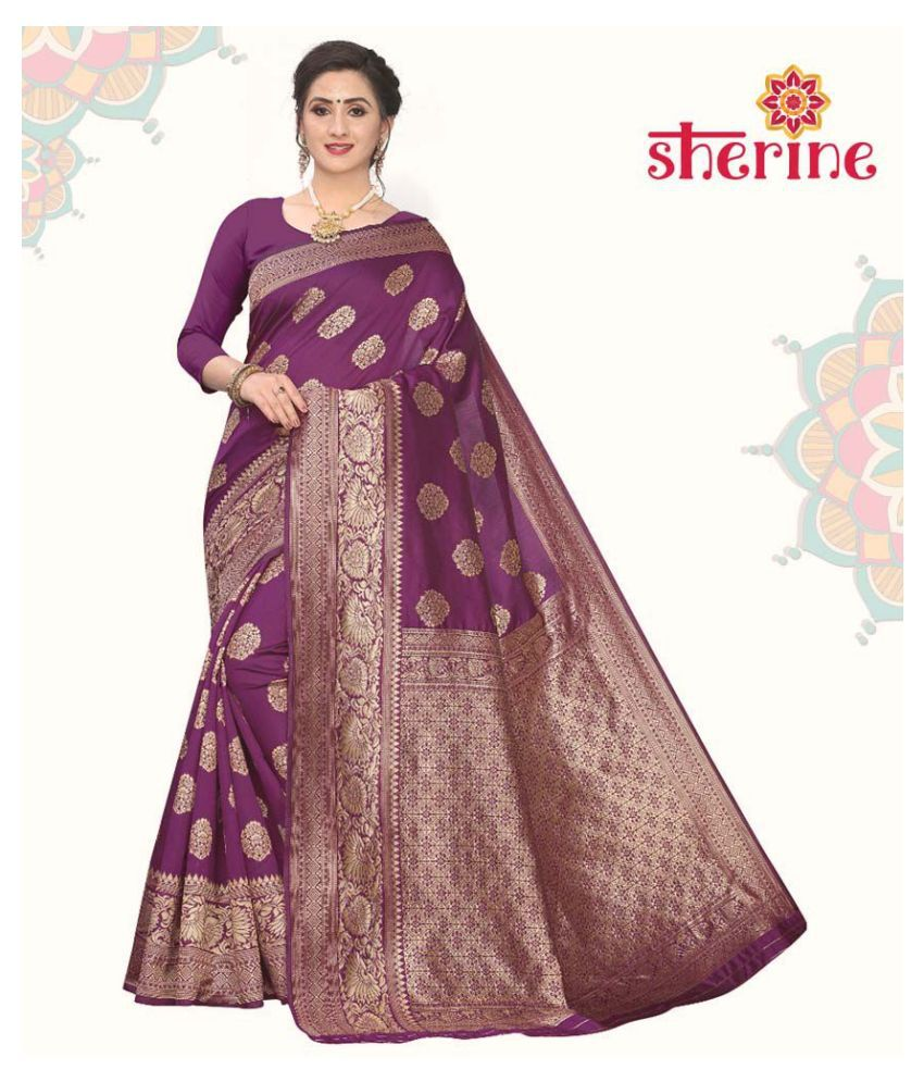 Sherine Purple Jacquard Saree