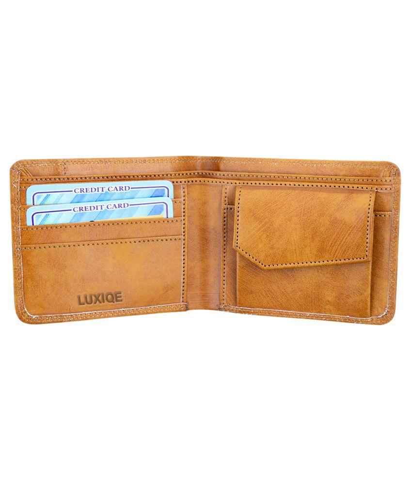 LUXQUE PU Tan Casual Regular Wallet