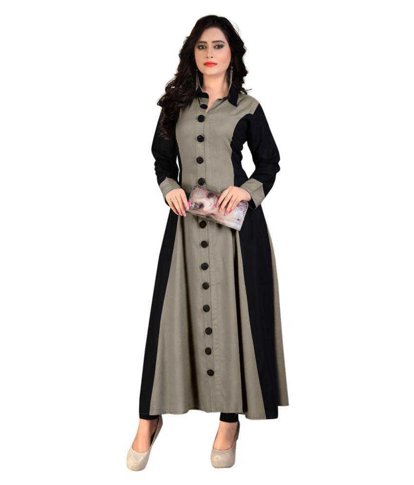 Madhuram Textiles Grey Rayon A-line Kurti