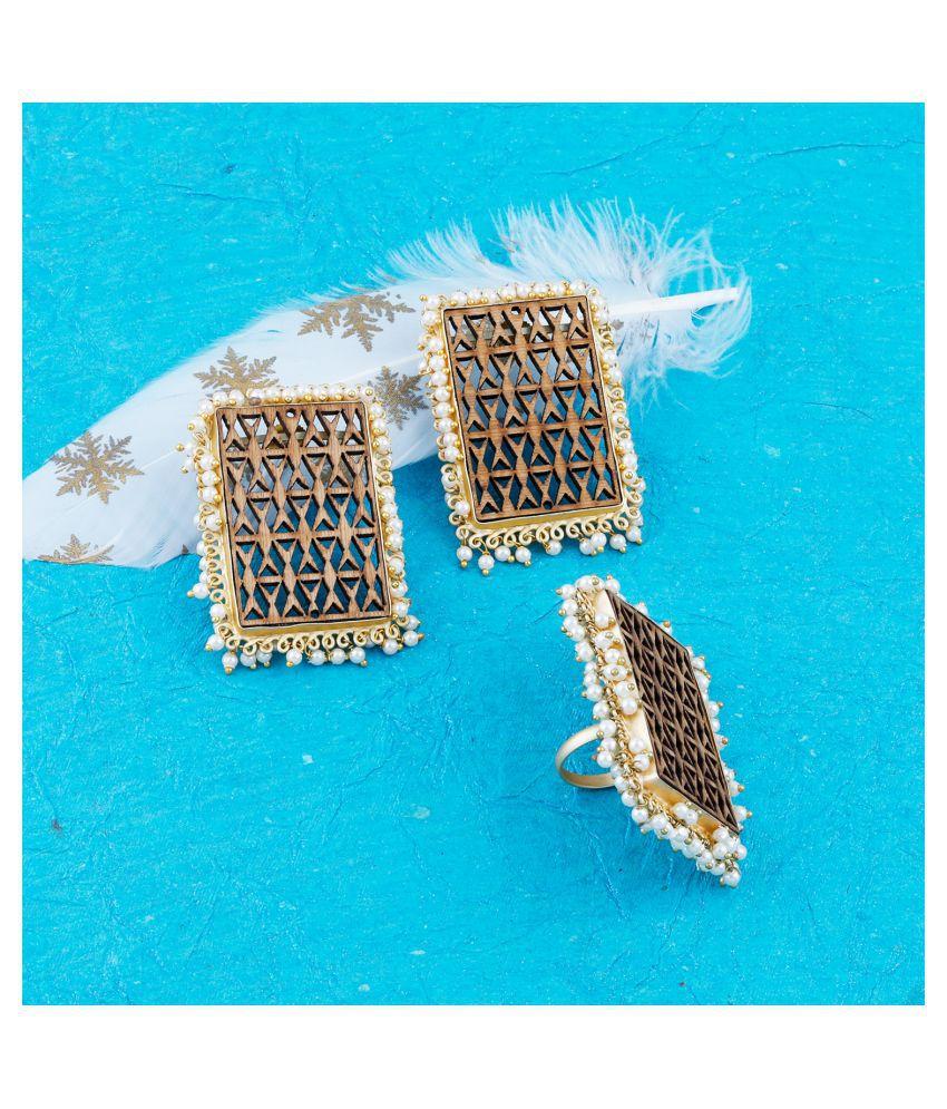 SILVER SHINE Stud Earring Set & Adjustable Finger Ring With Earring For Women Girl