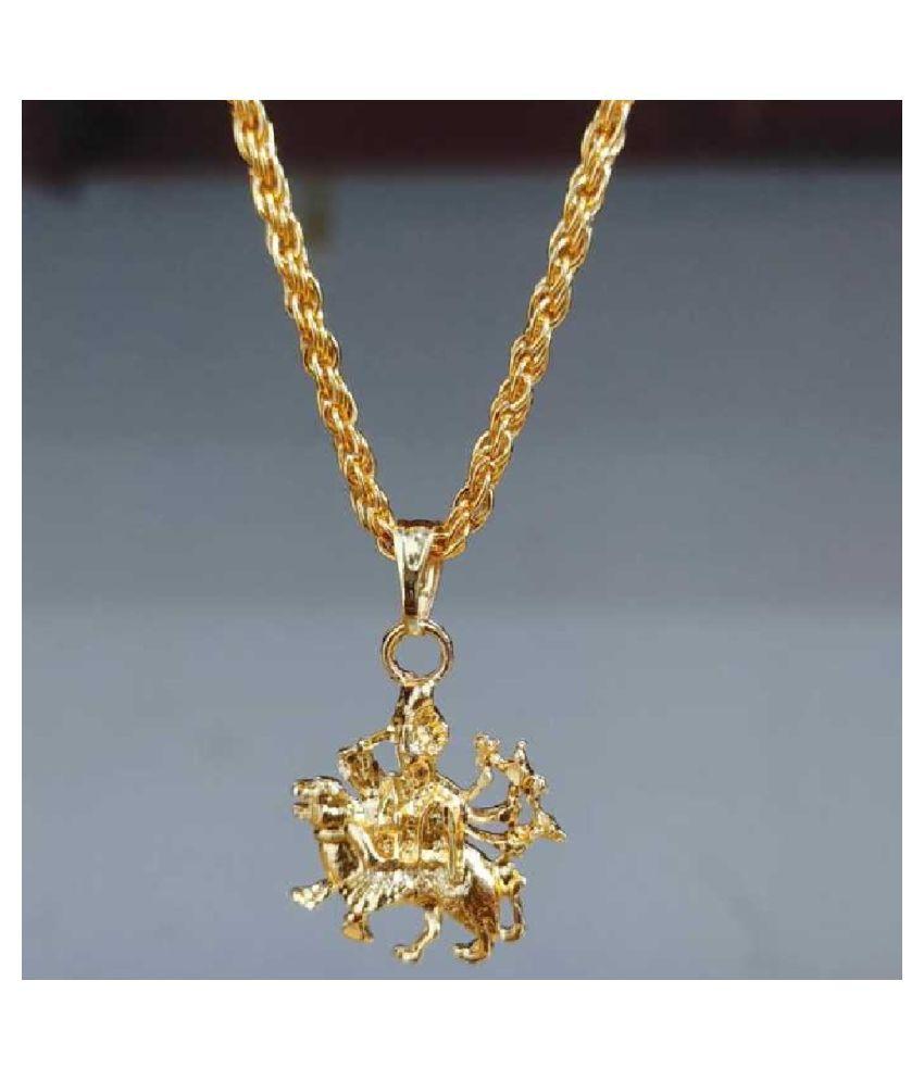 Kundli Gems - Gold Plated  Maa Durga Sherawali Pendant Without chain  for Men& Women