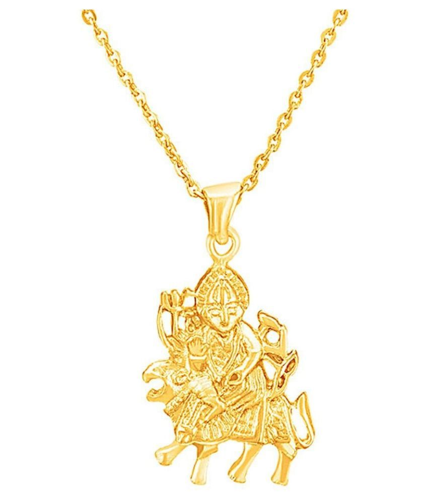 Kundli Gems - Religious Jewelery Gold Plated Brass Micron Lord Sherawali Mata , Durga Rani, Vaishno Devi, God Jewellery Pendant Chain Locket Men And Women Gold-plated Brass Pendant Set