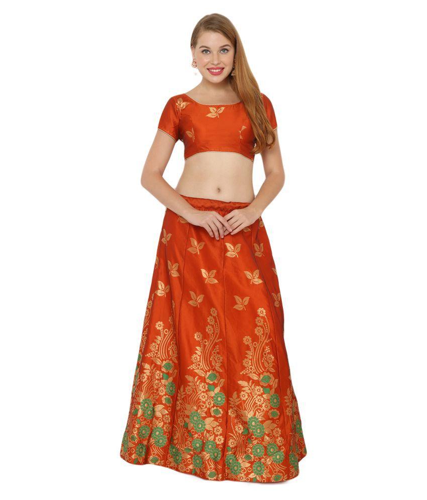 Salwar Studio Orange Silk Blends Unstitched Semi Stitched Lehenga