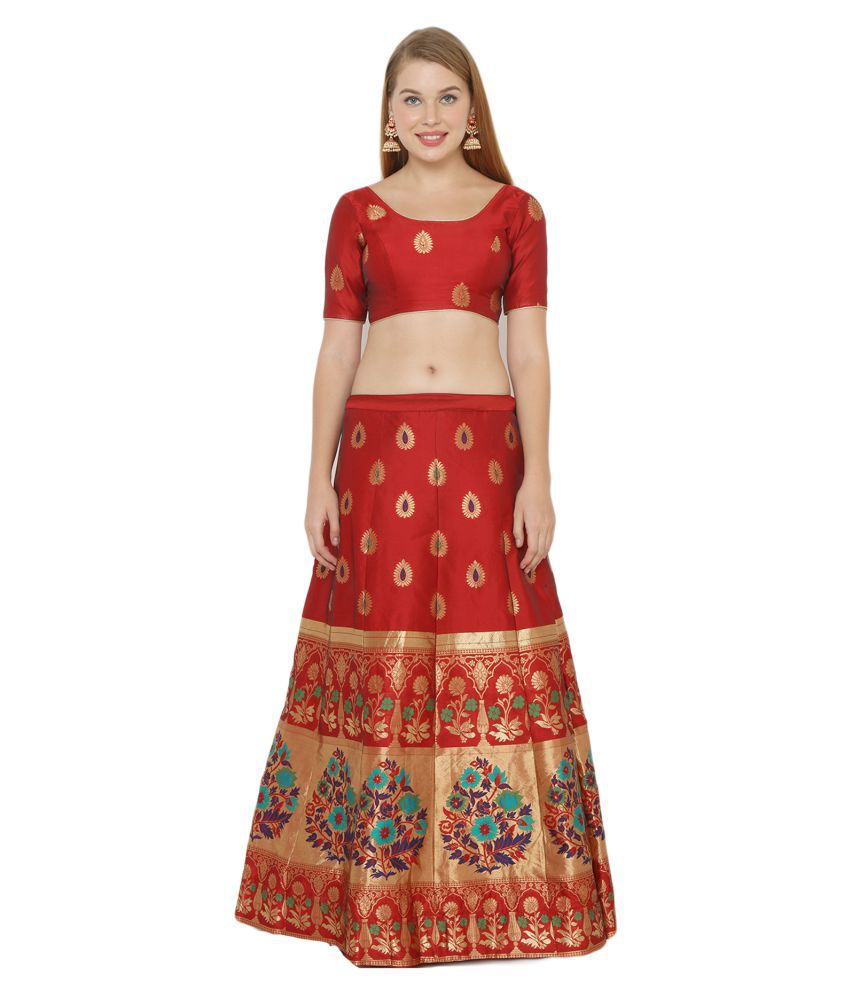 Salwar Studio Red Silk Blends Unstitched Semi Stitched Lehenga
