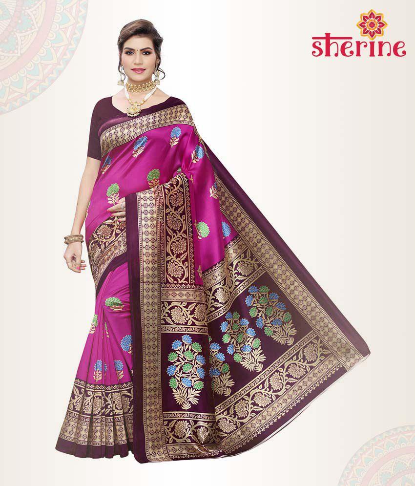 Sherine Pink Printed Saree with Blouse Piece