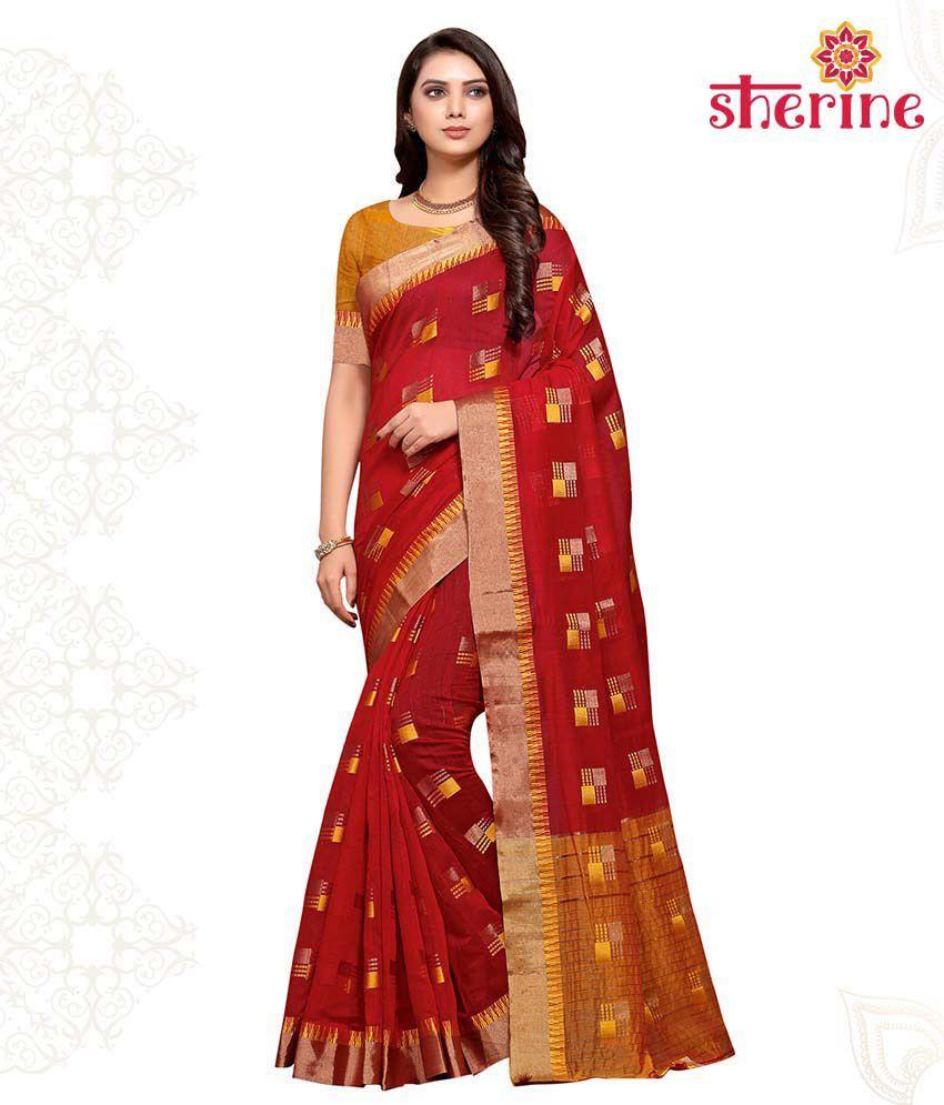 Sherine Red Cotton Poly Silk Saree