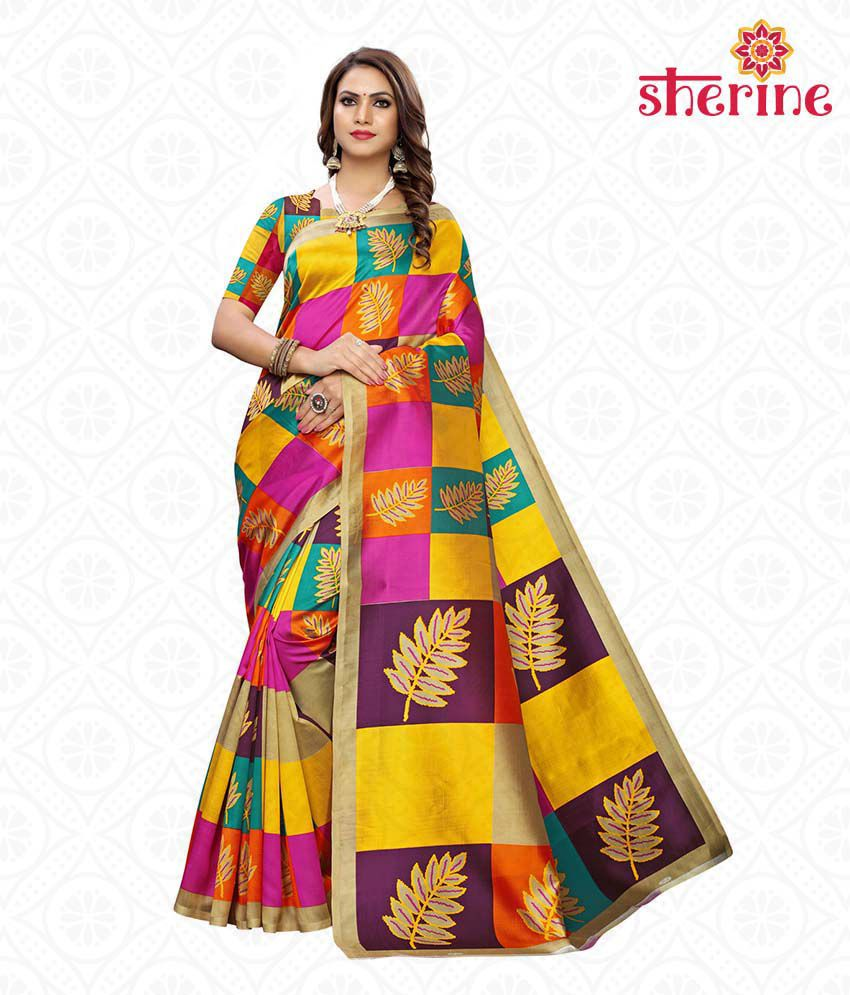 Sherine Yellow Printed Saree with Blouse Piece