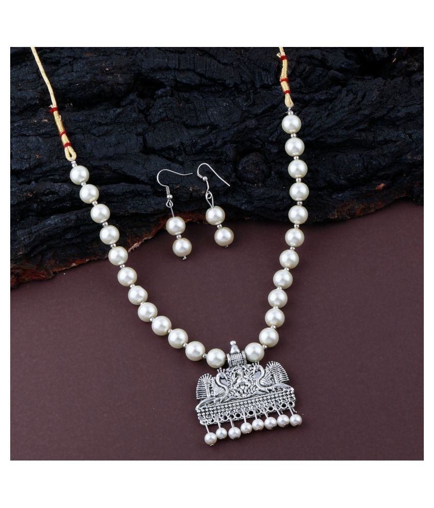 ShreejiHuf Alloy Silver Contemporary Contemporary/Fashion Antique Necklaces Set
