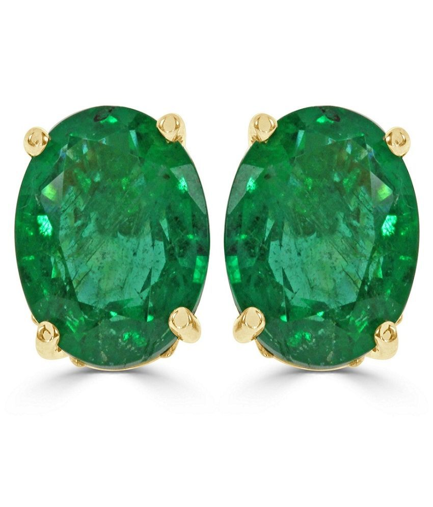 Green Emerald stone earring original Panna Silver earring for women & girls