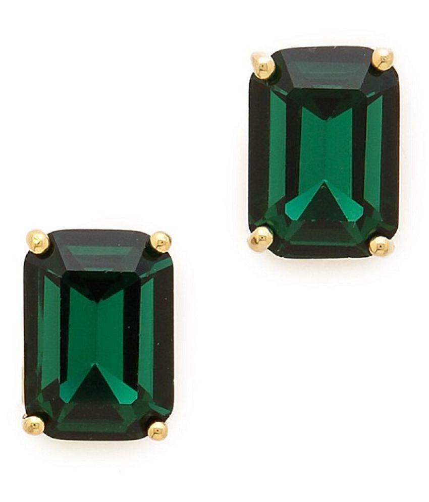 Ratan Bazaar - Original Green Emerald Stone Gold Plated Earrings Panna Earrings For Women