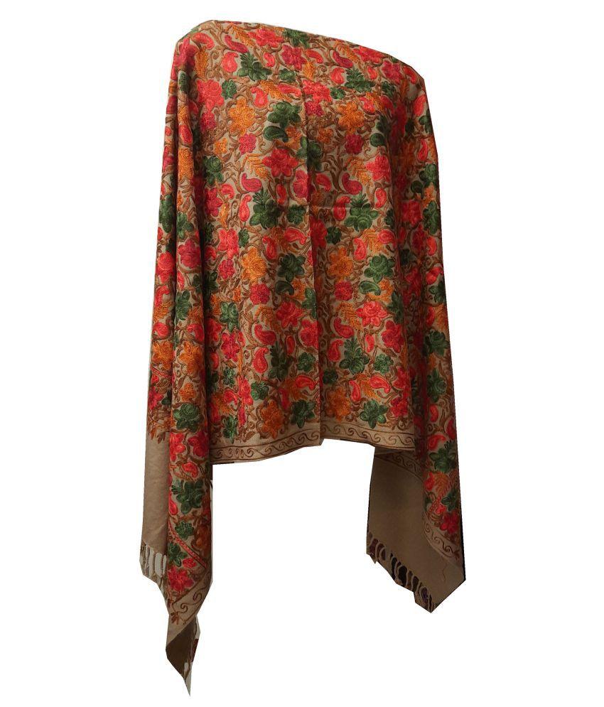 shah art gallery Beige Floral Woolen Stoles