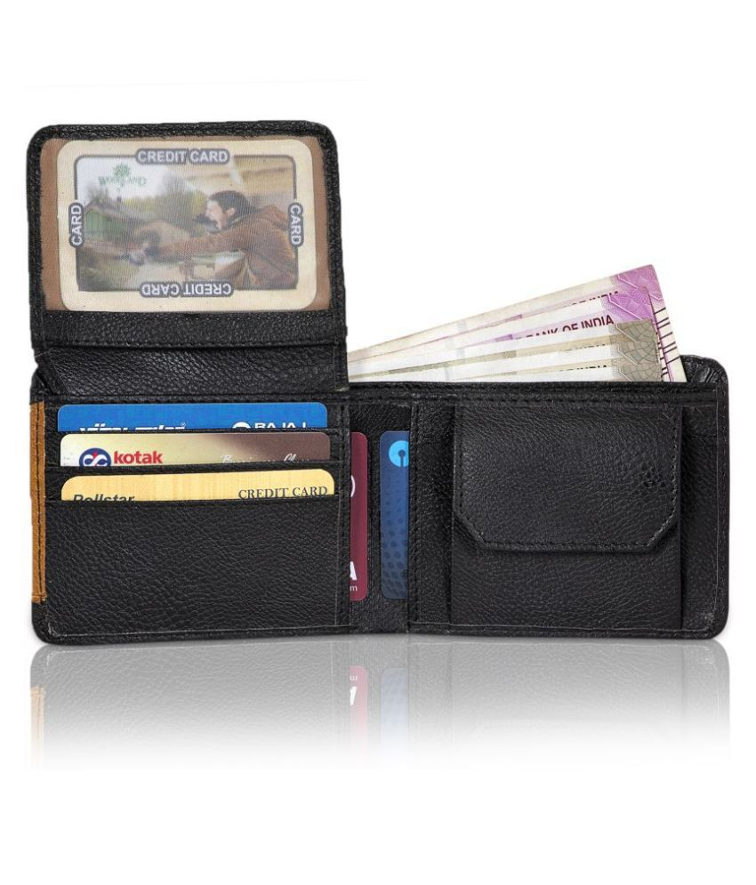 yug mobil Faux Leather Black Casual Regular Wallet