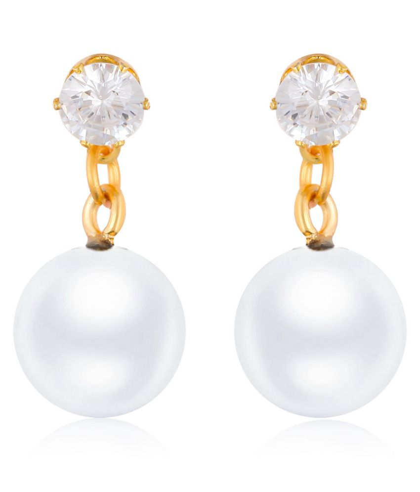 Vighnaharta Fancy wear CZ Gold Plated alloy White Drop Earring for Women and Girls ( Pack of 1 pair Earring)