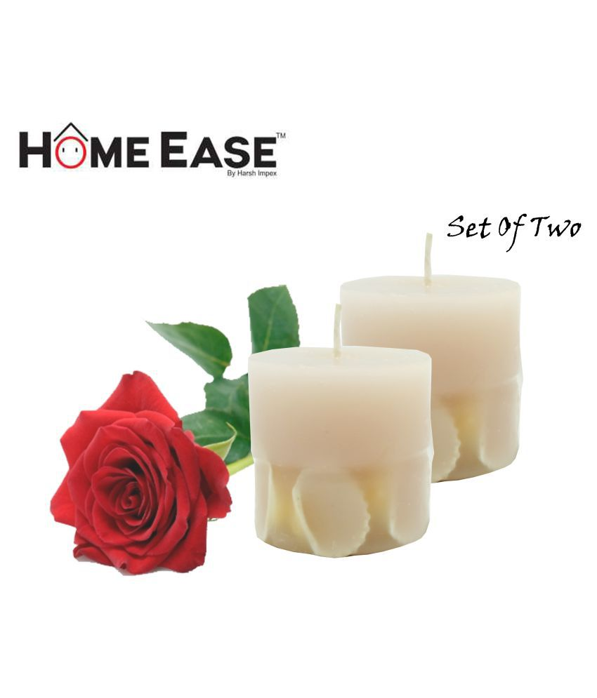 Harshpet Beige Pillar Candle - Pack of 2