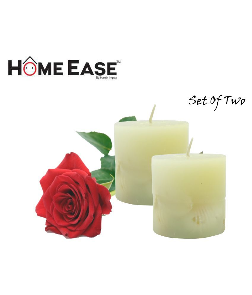 Harshpet Grey Pillar Candle - Pack of 2