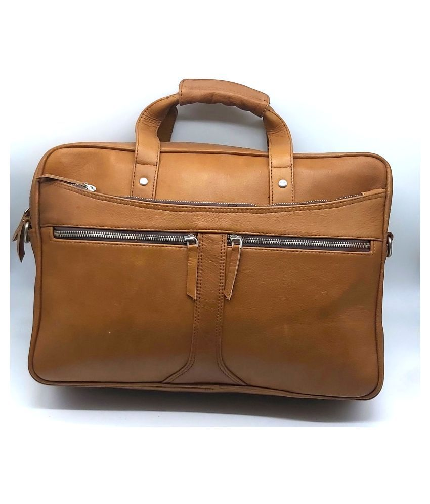 IMBUSH IMB-MS-06 Tan Leather Office Bag