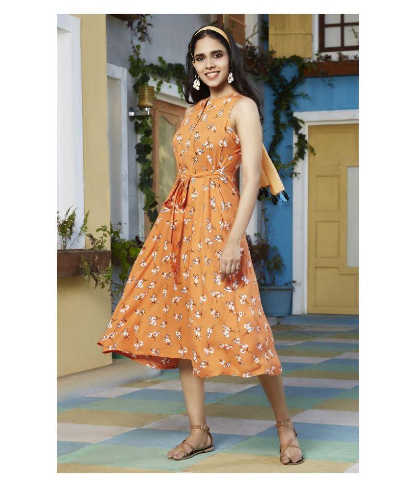 Janasya Rayon Orange Regular Dress