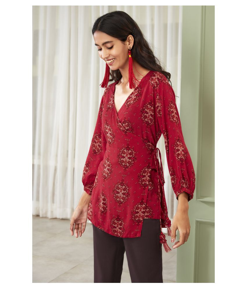 Janasya Rayon Regular Tops - Maroon