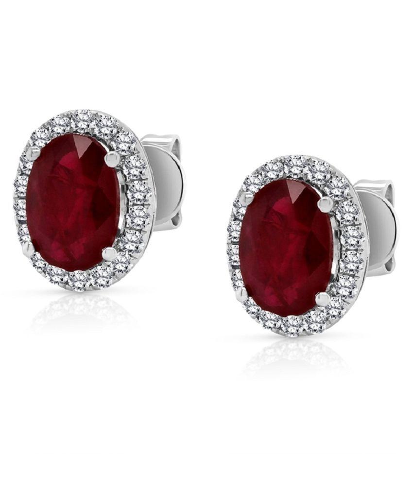 KUNDLI GEMS  - Studs Collection Sterling Silver Ruby(Manik) Stud Earrings for Women & Girls,