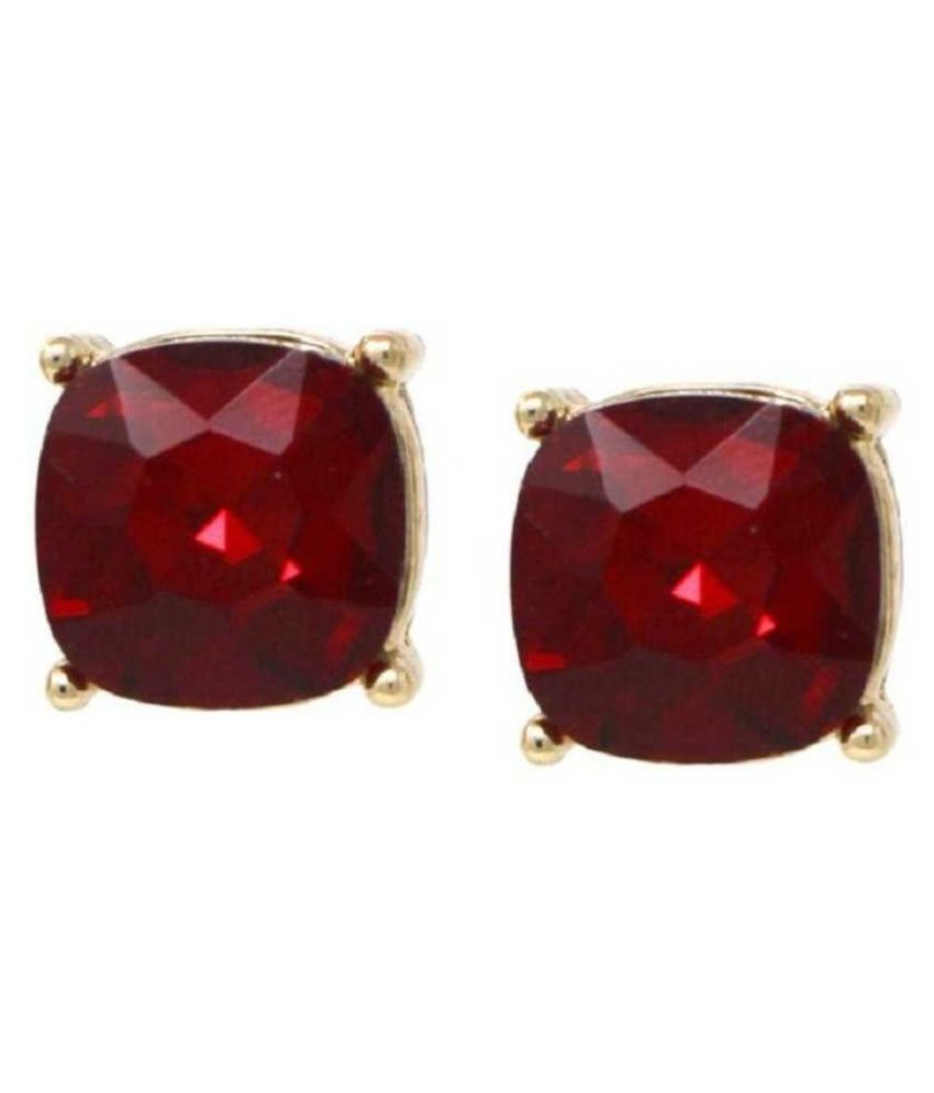 Natural Ruby(Manik) Stud Earring Precious   Gold Plated Earring for Girls by Ratan Bazaar