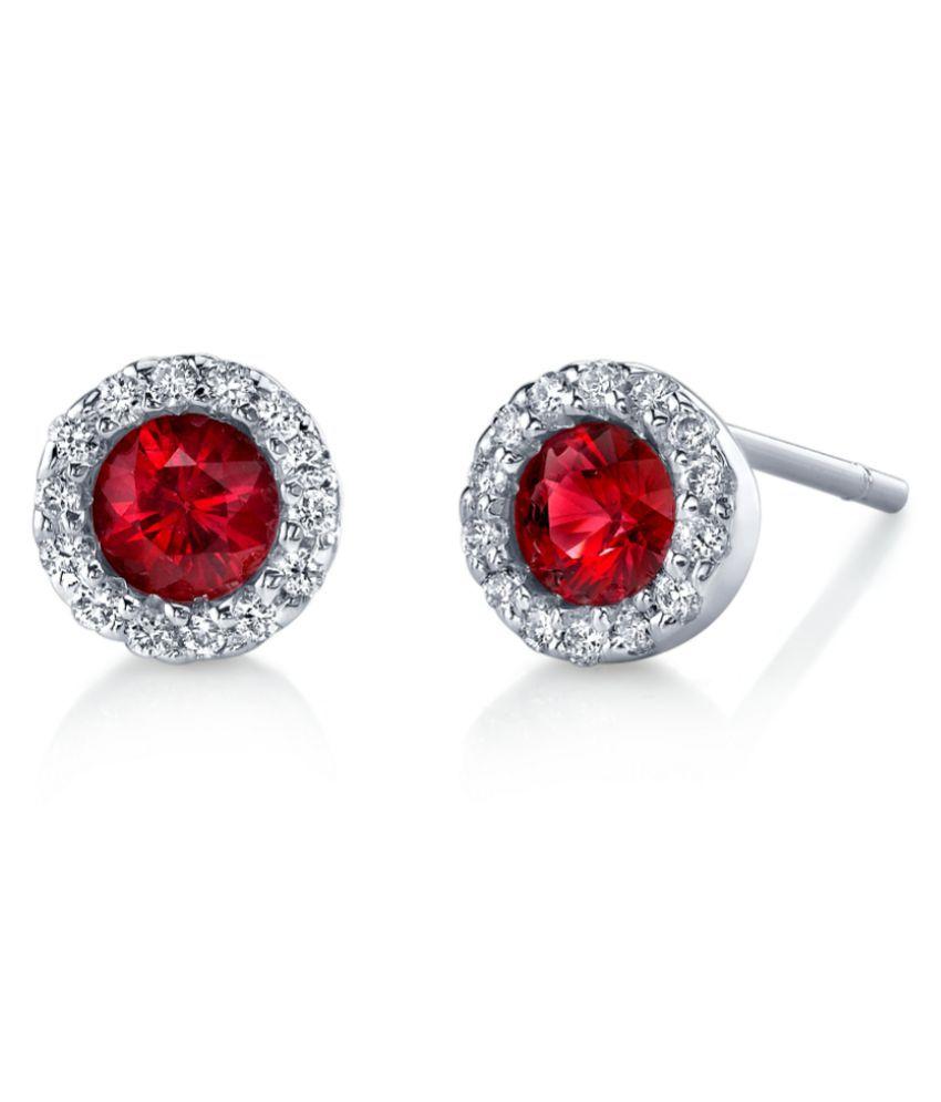 Ratan Bazaar - Pure Silver  Ruby(Manik) Stud Earrings for Womens