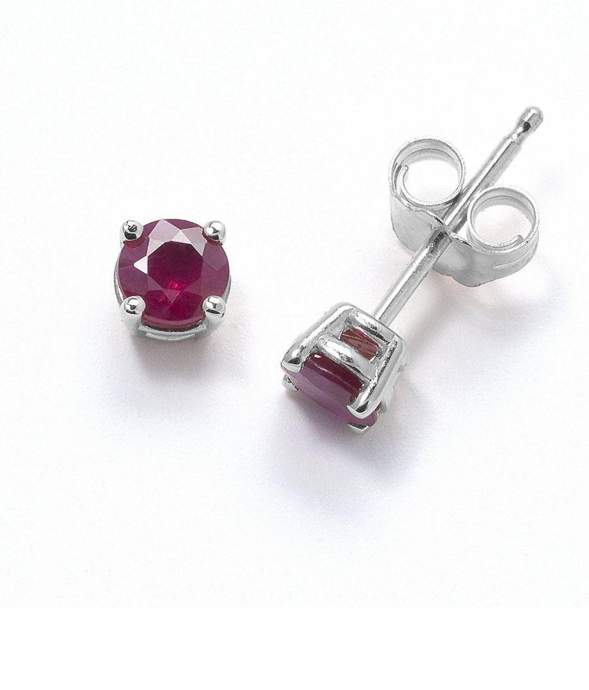 Ratan Bazaar - Silver Ruby(Manik) Stud Earrings for Womens by Ratan Bazaar