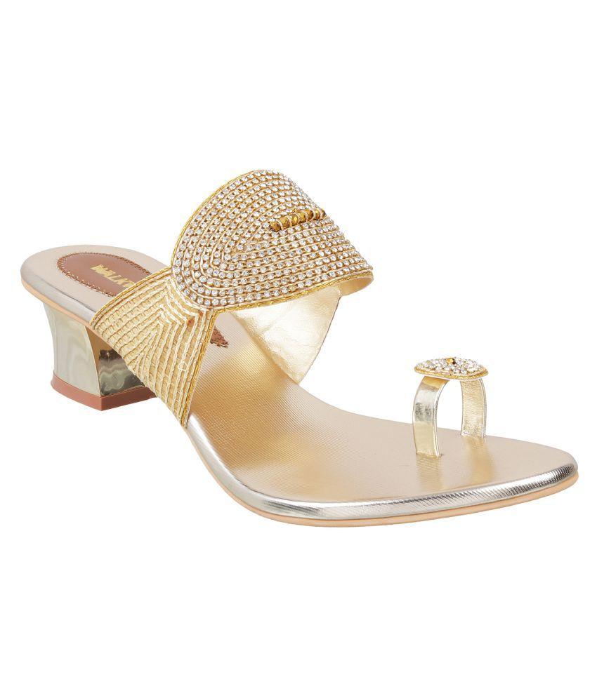 WALKWAY Gold Block Heels