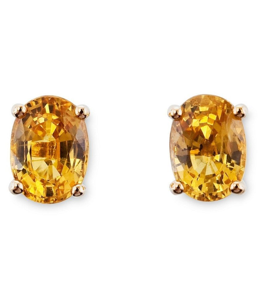 Yellow Sapphire(Pukhraj) Gold Plated earrings for girls by  KUNDLI GEMS