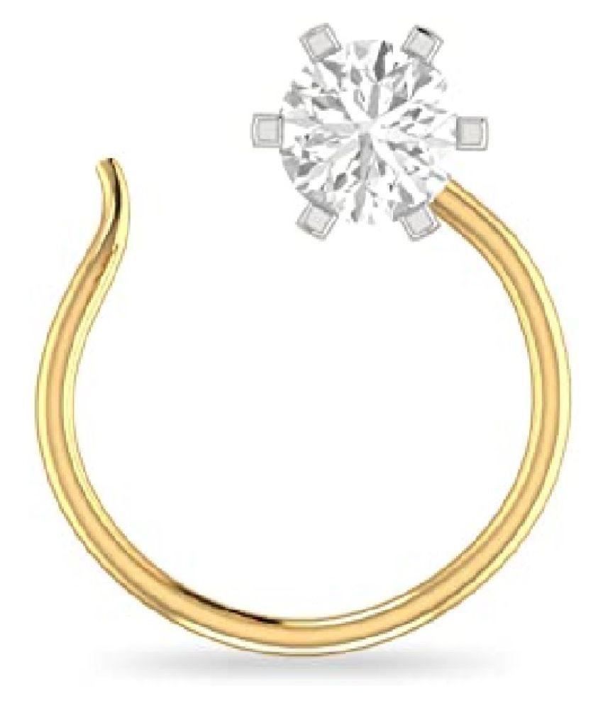 white american diamond nosepin natural & original gemstone Gold Plated nose pin for women & girl by Kundli Gems