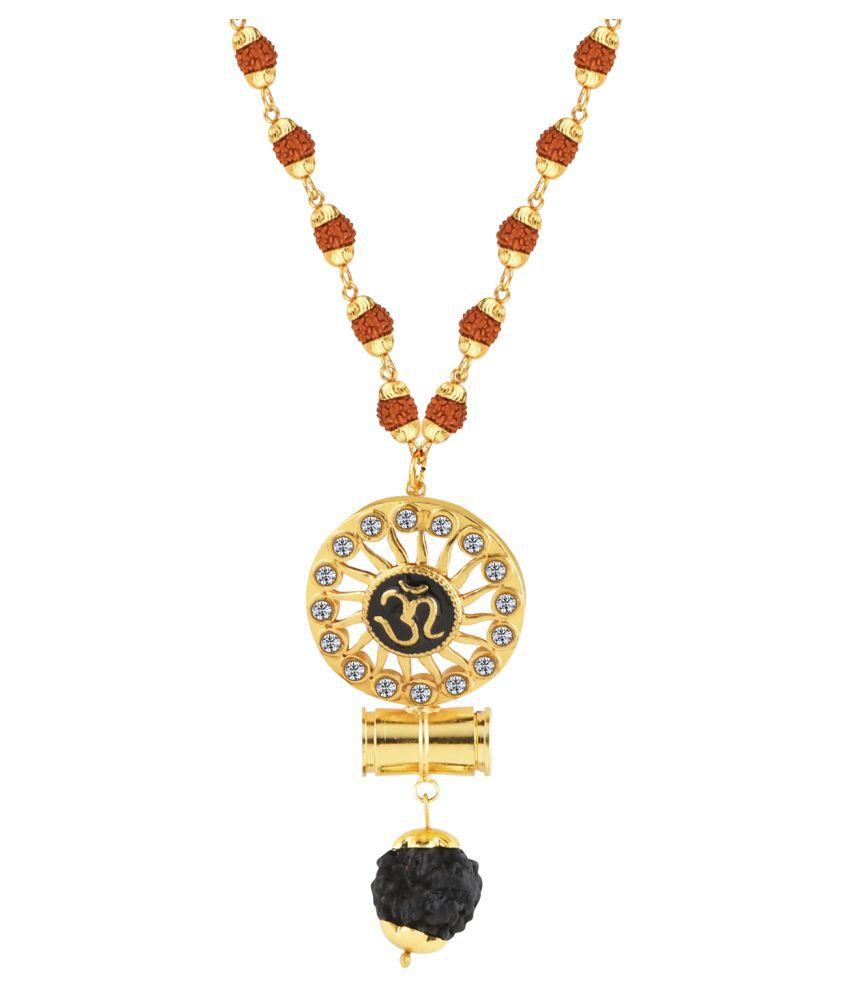 Attractive  Gold Plated  Rudraksha Designer Pendant Mala for Men and Women