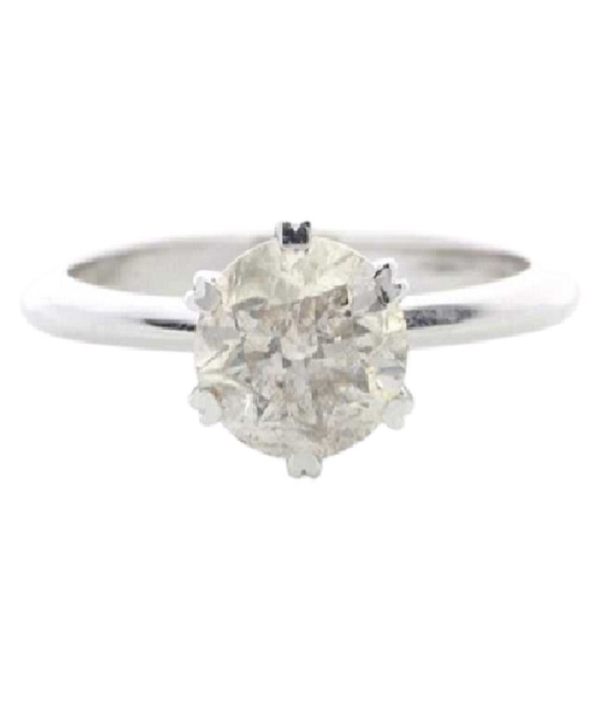 Certified 6 Carat  Silver White Sapphire Stone Ring by KUNDLI GEMS