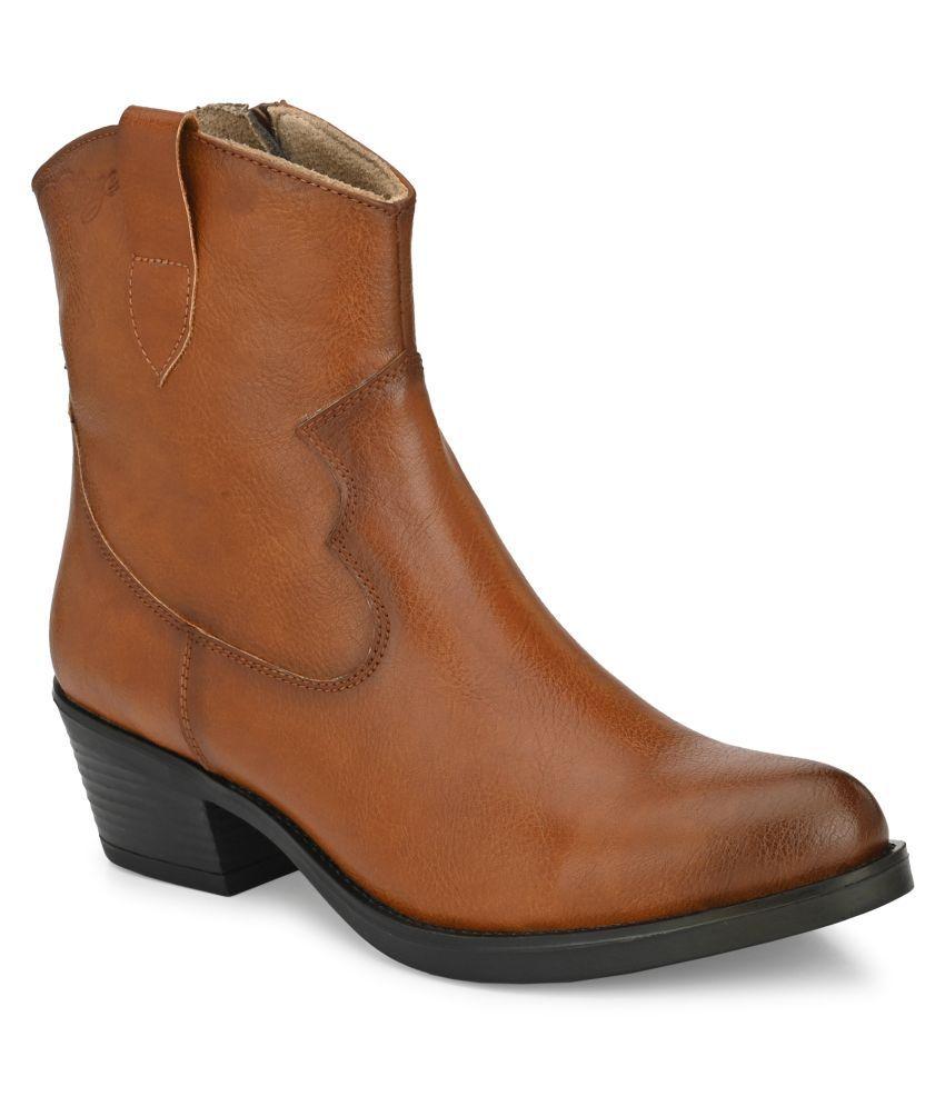 Delize Tan Mid Calf Chelsea Boots