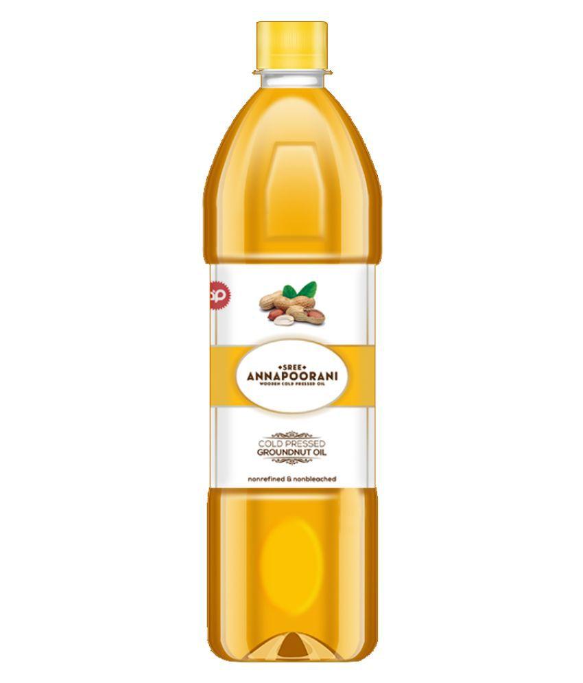 Sree Annapoorani Wood Pressed Groundnut/Peanut Oil (Virgin, Mara Chekku/Ghani) Groundnut Oil 1 L