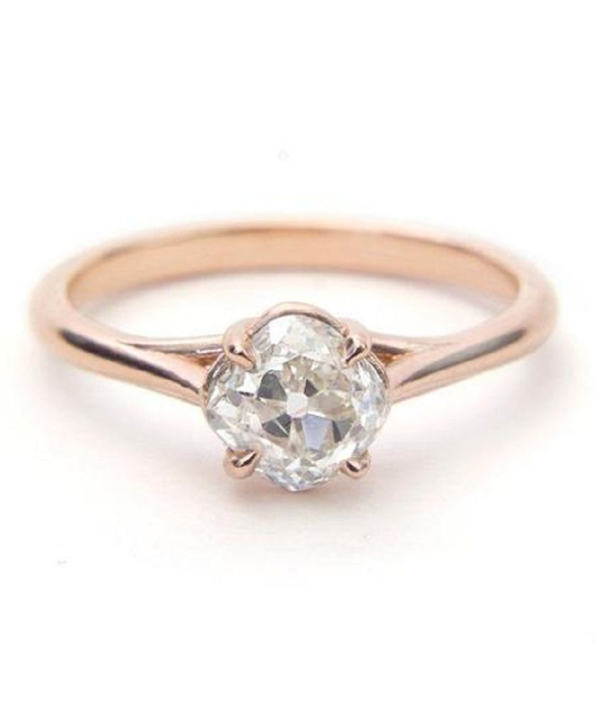 6.5 Ratti Natural Lab Certified White Sapphire Stone Gold Plated Ring By KUNDLI GEMS