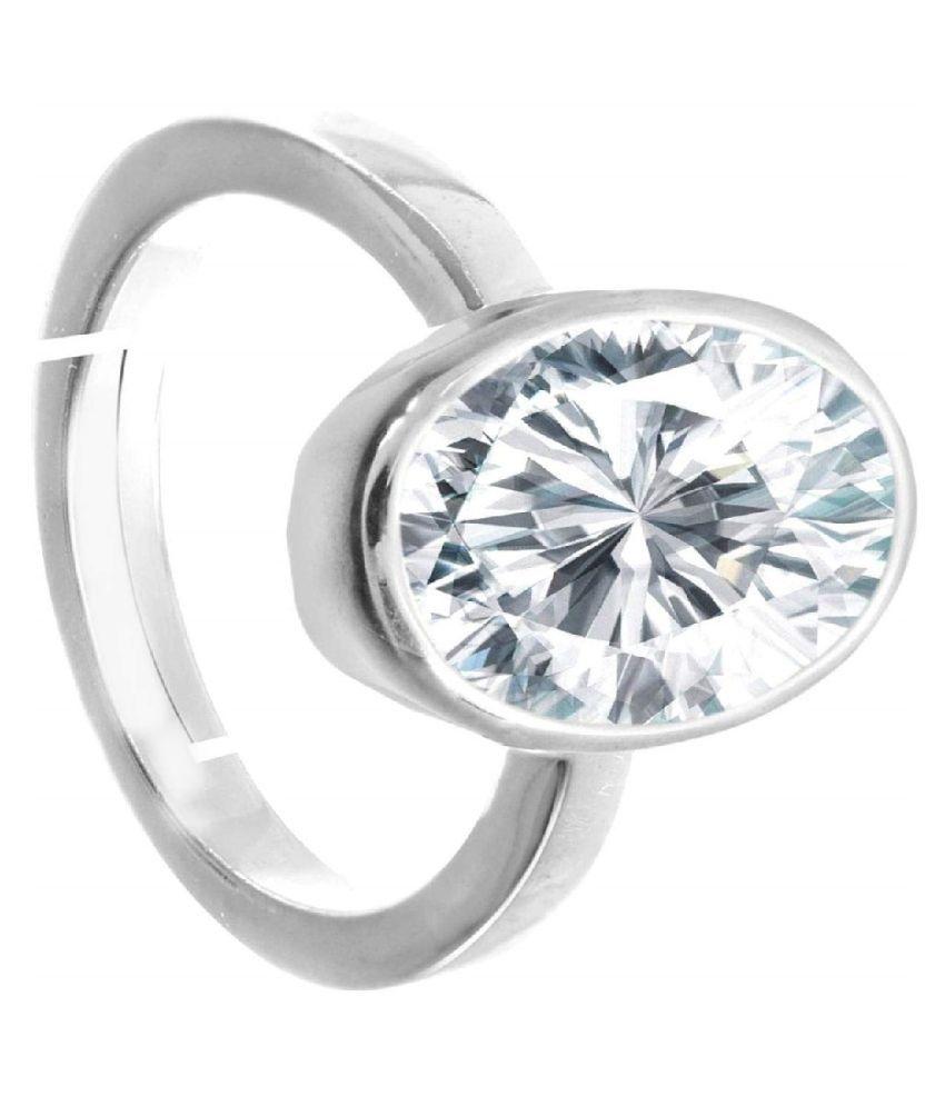 Sterling Silver ZIRCON  Ring 9.5 ratti   ZIRCON  ring by RATAN BAZAAR