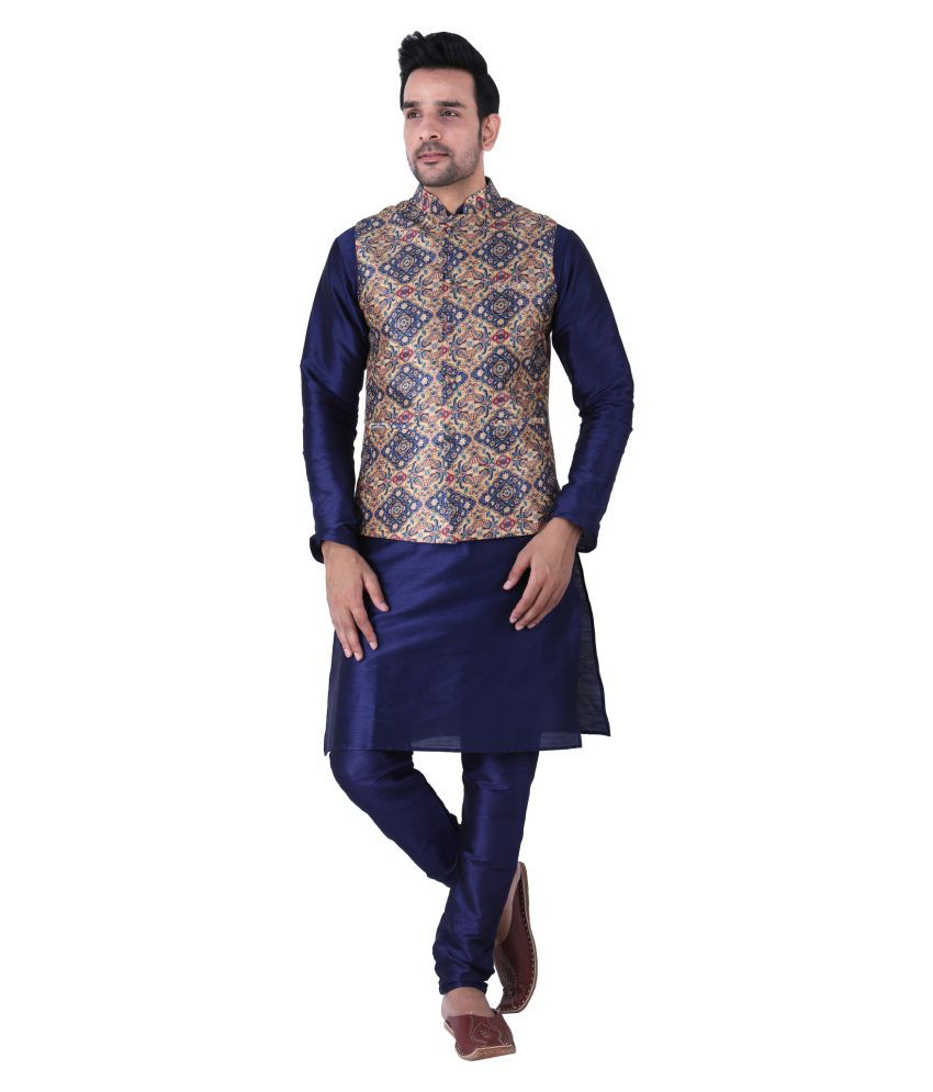 Tau-G Blue Silk Kurta Pyjama Set Single Pack