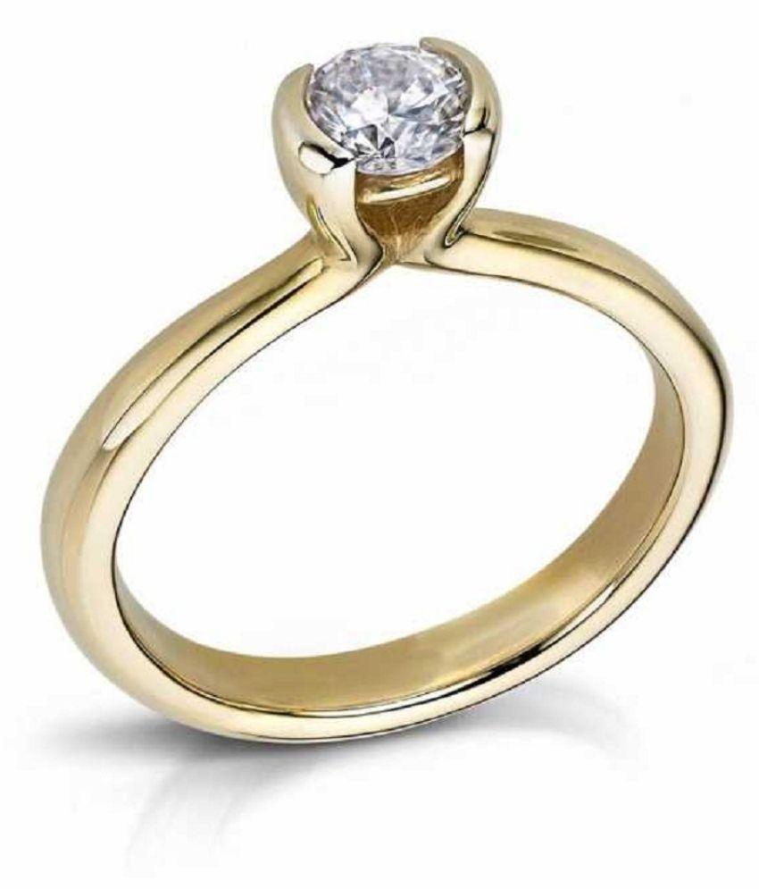ZIRCON Natural & Unheated Stone  9.5 Ratti ZIRCON gold plated Ring by RATAN BAZAAR