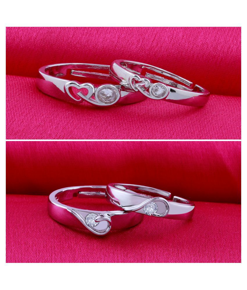 Adjustable Party Wear Couple Rings Set for lovers Silver Plated Solitaire for Men and Women 2 Pair