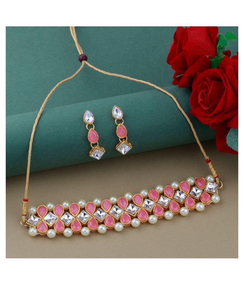 ShreejiHuf Alloy Pink Contemporary/Fashion Necklaces Set Choker