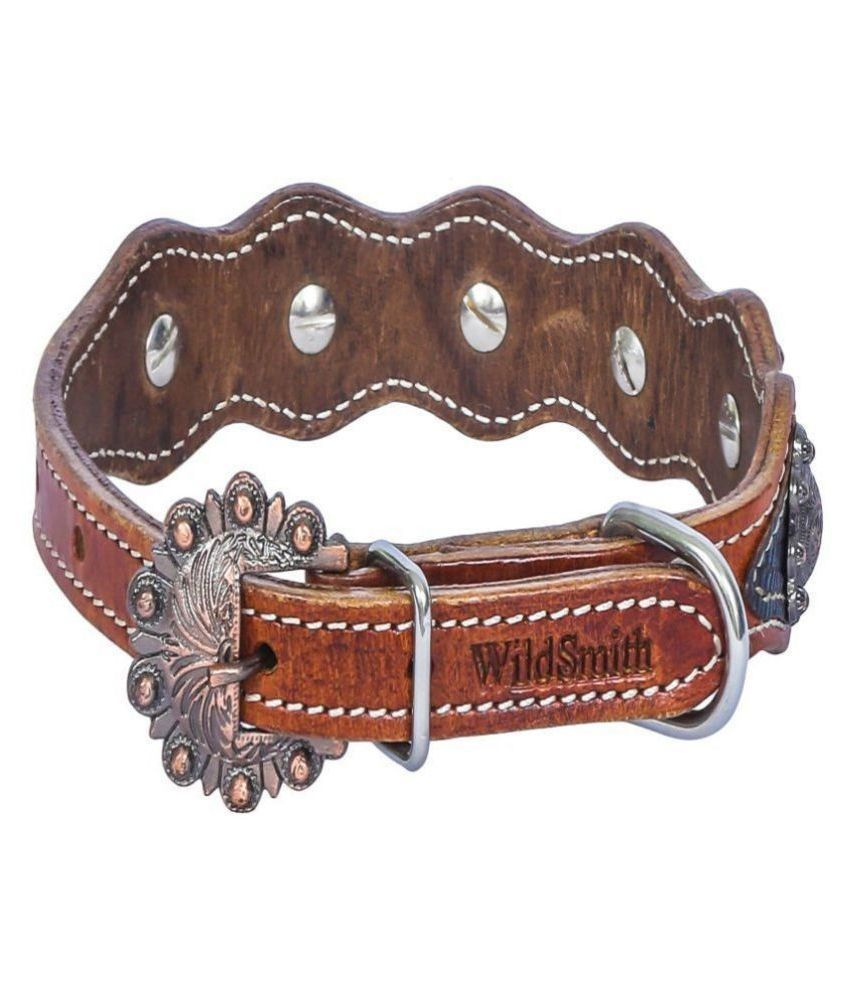 Wild Smith Geniune Leather Dog Collar with Croc Print Leather Overlay Accented With Decorative Copper Concho Studd
