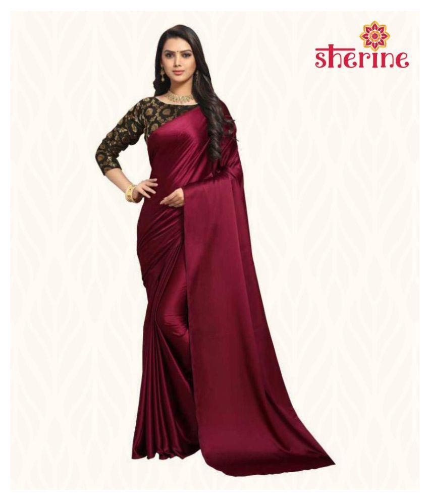 Sherine Maroon Satin Saree