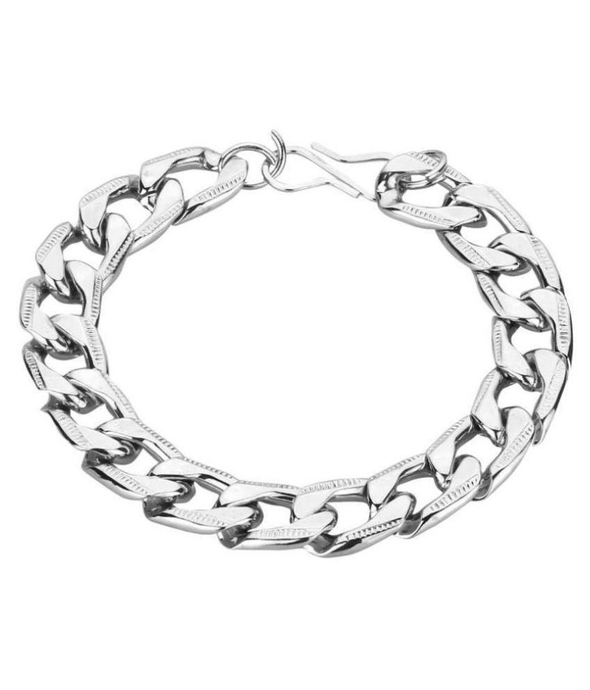 VellaFashion Silver Heavy Bracelet For Mens/Boys