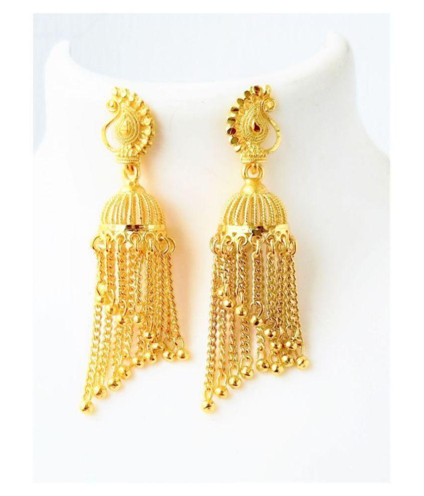 Darshini Designs  Traditional One gram gold plated jhhumki earrings for women.