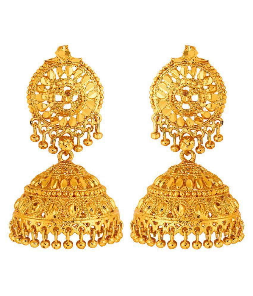 GoldNera Golden Big Size 3.5 CM Partywear Wedding Bridal Classic Jumka Hanging Copper, Brass Jhumki Earring.